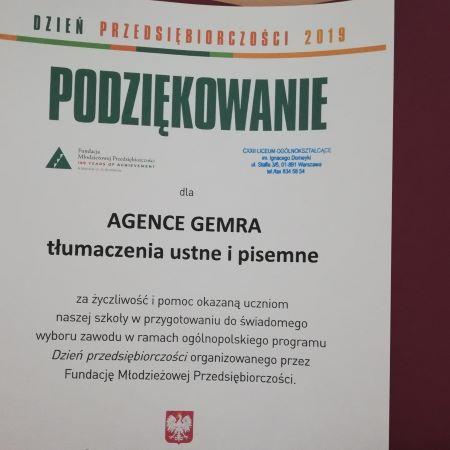 dyplom za szkolenie dla tłumaczy